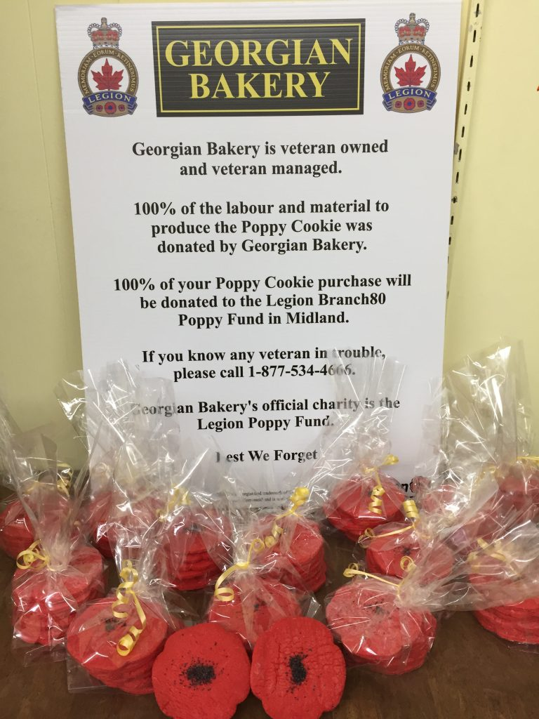 Georgian Bakery Midland, veteran owned, veteran managed, poppy cookies, legion branch 80, lest we forget, donations, good cause, remembrance day, Nov 11th, charitable causes