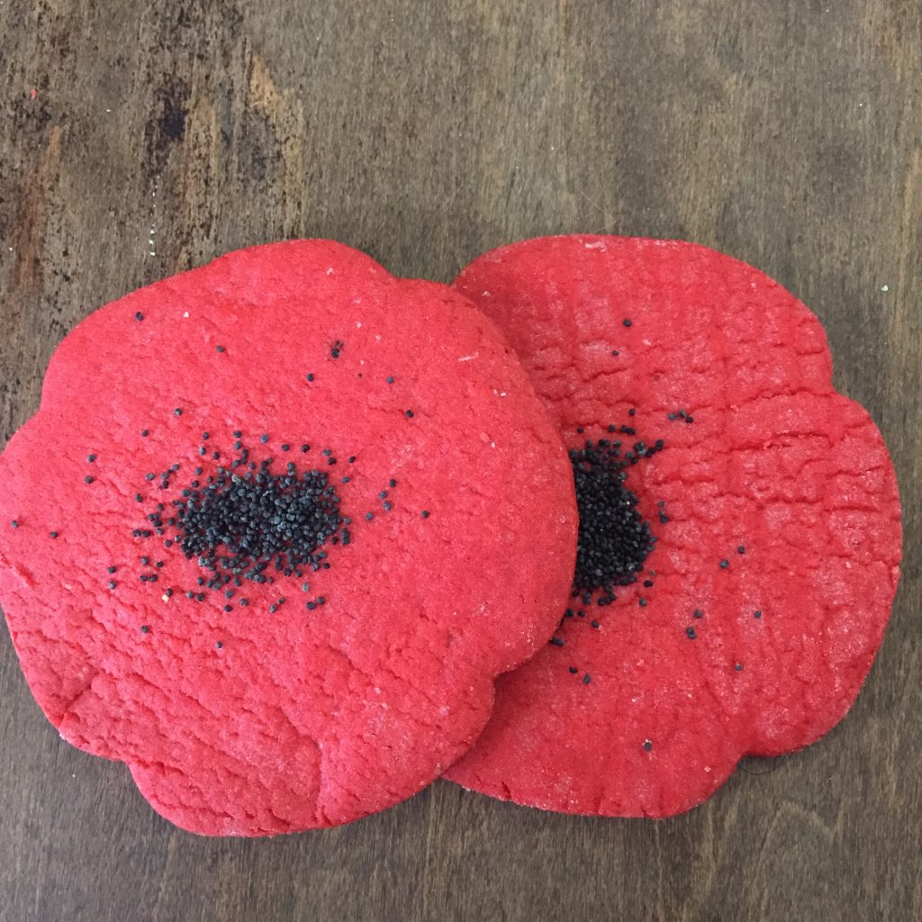 Poppy Cookies, poppy cakes, good cause, support local, support charity, support your community, veterans support, healing with community, community love, legion, midland, king st, Bakery of love,